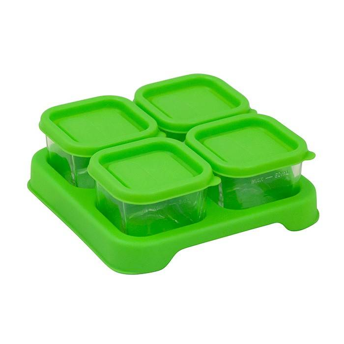 Glass Baby Food Storage Cubes Green Bambino