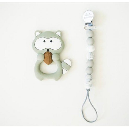 LouLouLollipop Raccoon Teether with Holder