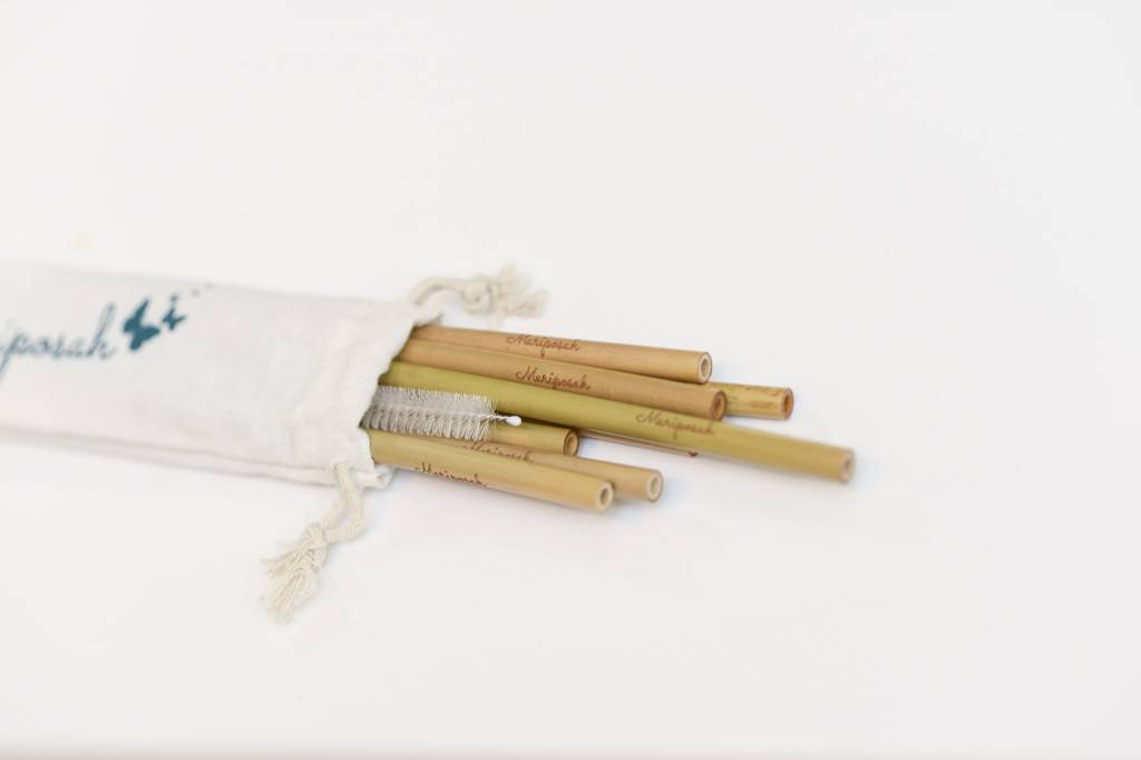 Reusable Bamboo Straws & Brush- 8 pack