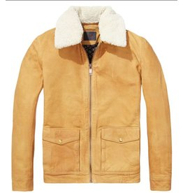 Scotch & Soda Struck Gold Leather Jacket (Detachable Teddy Collar)