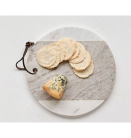 Creative Co-Op Round Marble Cheese Board Grey/White