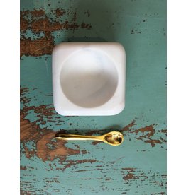 Creative Co-Op White Marble Dish with Brass Spoon