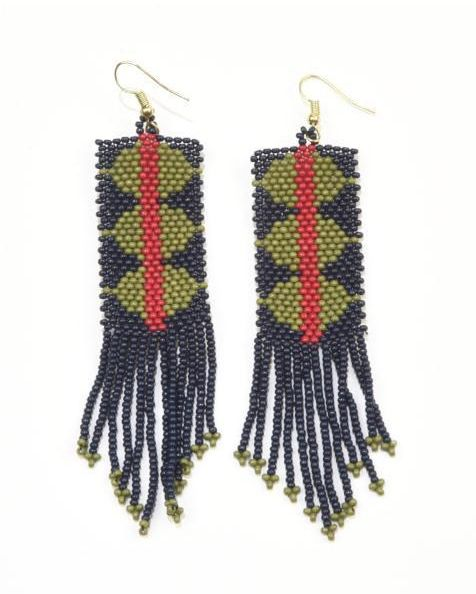 Ink + Alloy Navy and Green Triangle Red Stripe Seed Bead