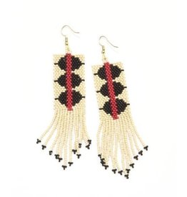 Ink + Alloy Black and White Triangle Red Stripe Seed Bead