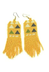 Ink + Alloy Mustard, Ivory, Grey Triangle Seed bead