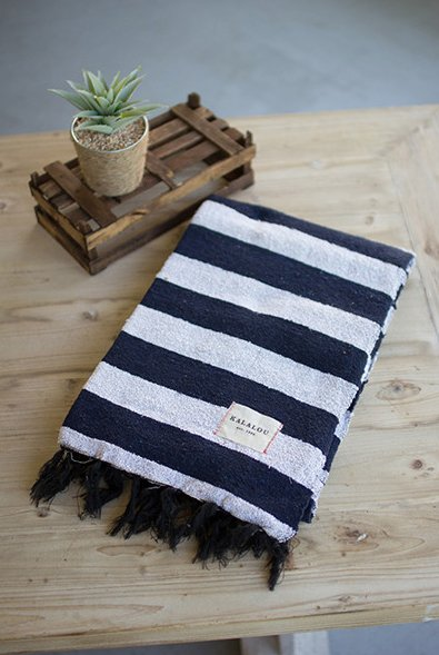 Kalalou Blue and White Cotton Throw
