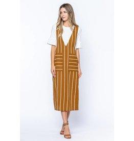 Tea N Rose Golden Hour Striped Low V Neck Dress