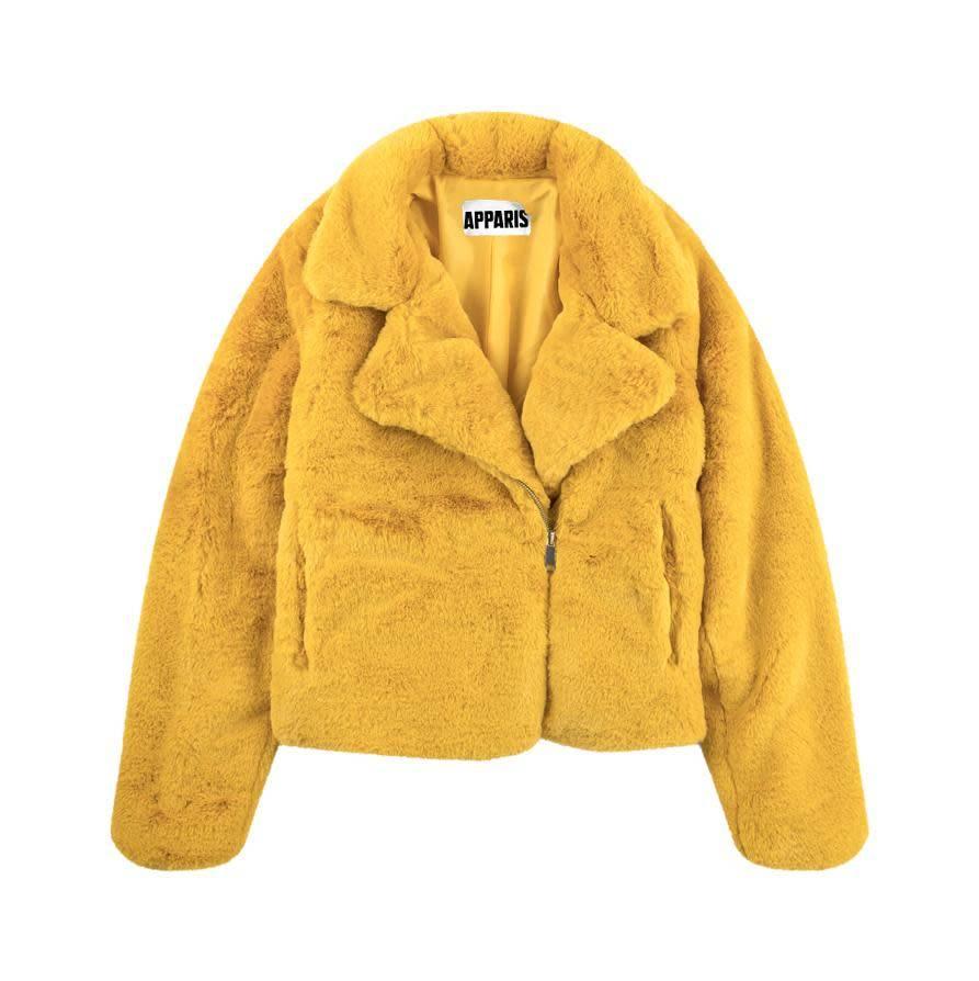 Apparis Apparis Faux Fur Biker Jacket - Marigold