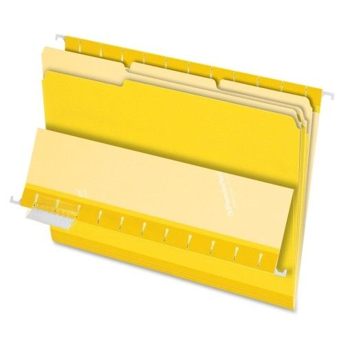 PFX421013YEL- INTERIOR FILE FOLDERS, 1/3 CUT, TOP TAB, LETTER, YELLOW 100/BX