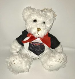 Plush White Scraggles Bear 7.5""