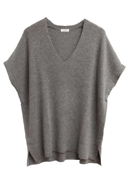 Palmer & Purchase Short Sleeve  Rib Cashmere V Tunic