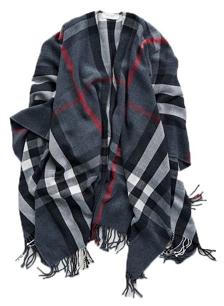 MER-SEA Plaid Charcoal Berry Travel Wrap