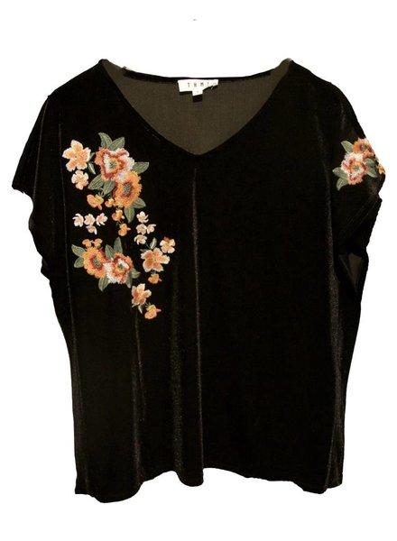 THML Clothing Floral Emb Velvet Top