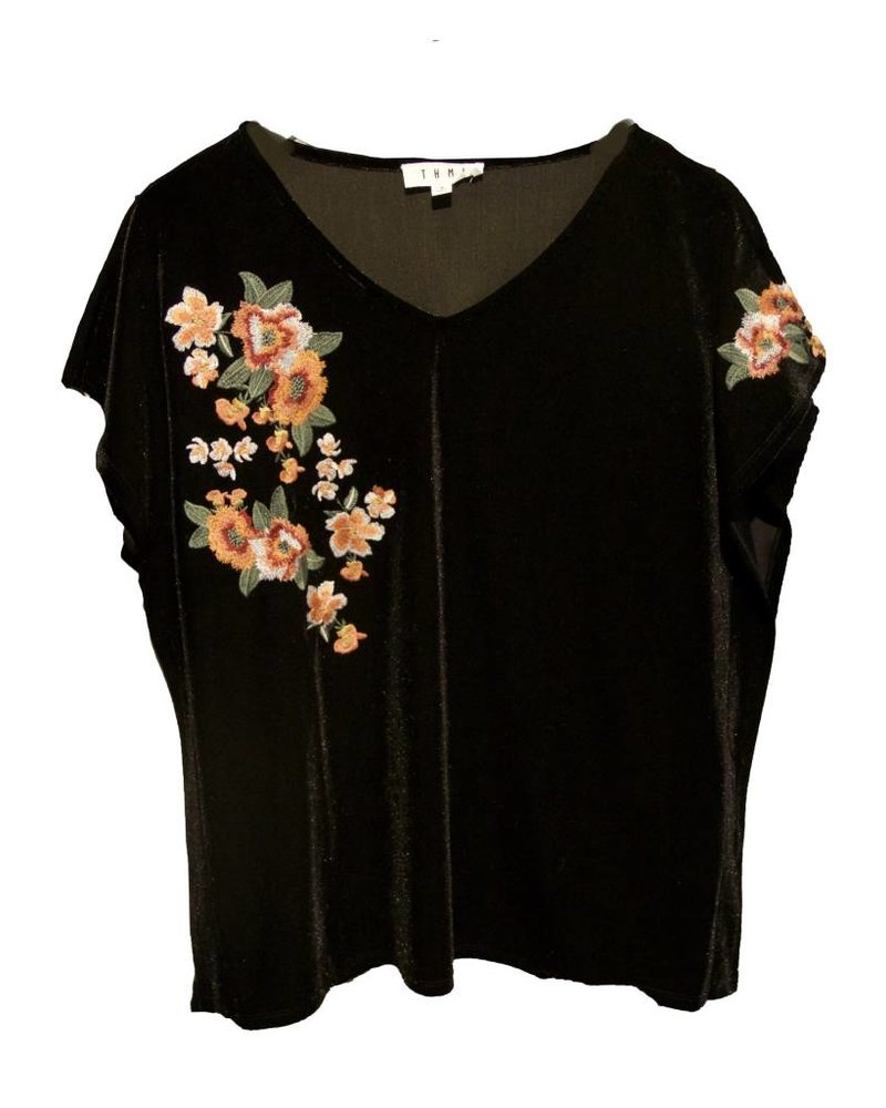 THML Clothing Floral Emb Velvet Top