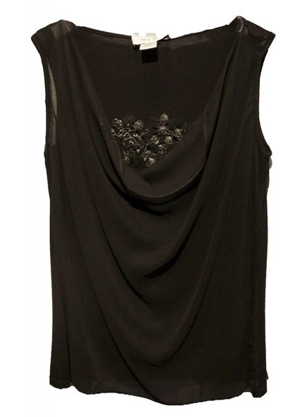Lola & Sophie Cowl Neck Top W/ Leather