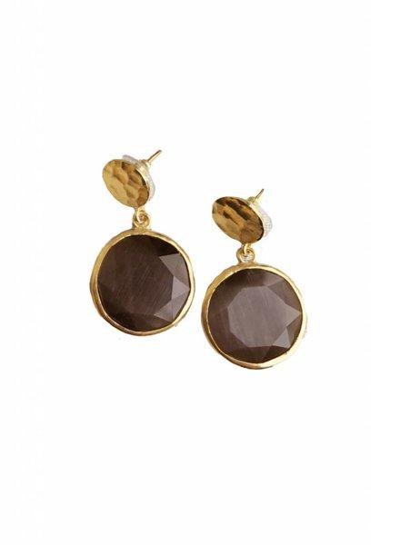 Chakarr Coin Cats Eye Earrings