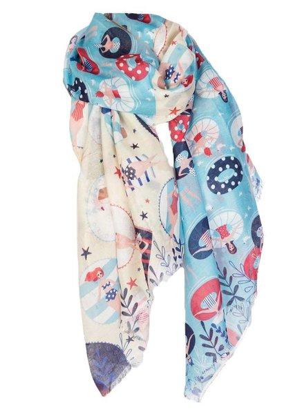 PRINTED VILLAGE Waterside Scarf