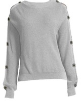 PROJECT DESIGN Button Sleeve Crew Neck Sweater