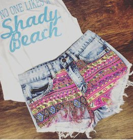 Tribal Print Denim Cut Off Shorts