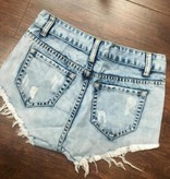 Tribal Print Denim Cut Off Shorts