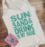 Sun sand drink in my hand tank