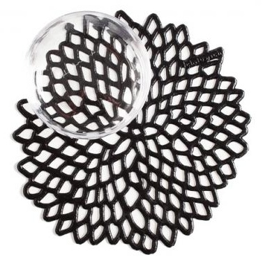 Chilewich Chilewich Dahlia Coaster in Black - Set of 6