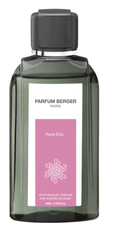 Lampeberger 200ml scented bouquet refill. Paris Chic fragrance. Its flowery notes hide the timeless chic of this Haute-Couture fragrance. Bergamot, jasmine water and white musk blend in a captivating fragrance. Created for those who love luxury.