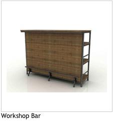 LH Imports Workshop Bar<br />Acacia, Metal Pipe