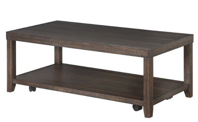 Magnussen Caitlyn Rectangular Cocktail Table with casters.  Distressed Natural Finish