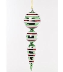 "K & K 12"" Red, Green, Snow Glitter Swirl 2 Ball Ornament"