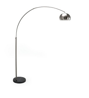 """Arched floor lamp with chrome shade and sturdy black marble base. 13""""Dia x 86""""H"""