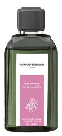 Lampeberger 200ml scented bouquet refill. Precious Jasmine fragrance. A spicy, very refined and modern floral composition. An unsettling encounter between the warmth of jasmine and the exoticism of ylang, reveals a vibrant floral heart, subtly accorded with fresh, fr