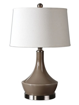 """Uttermost Warm taupe gray glass base with brushed aluminum accents. The round, slightly tapered shade is an off-white linen hardback. 150W, 3 Way. 27""""H - Shade 11""""Hx17""""Dia"""