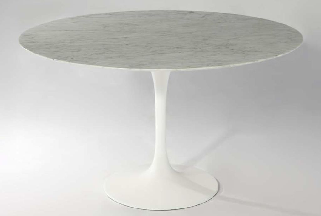 Mobital Round white marble dining table w/aluminium base