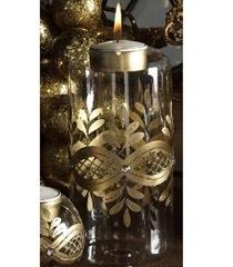 K & K 6 Inch Clear & Gold Candleholder