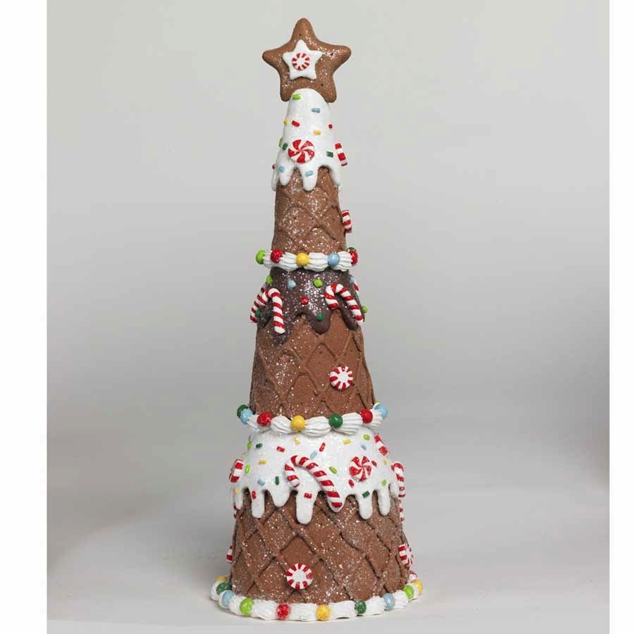 K & K 12 Inch Gingerbread Cone Tree