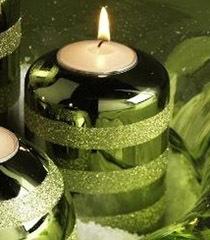 K & K 4 Inch Green Glitter Stripe Candleholder