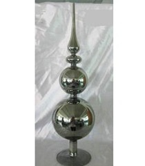 K & K 16 Inch Glass Silver Ball/Finial Table Piece