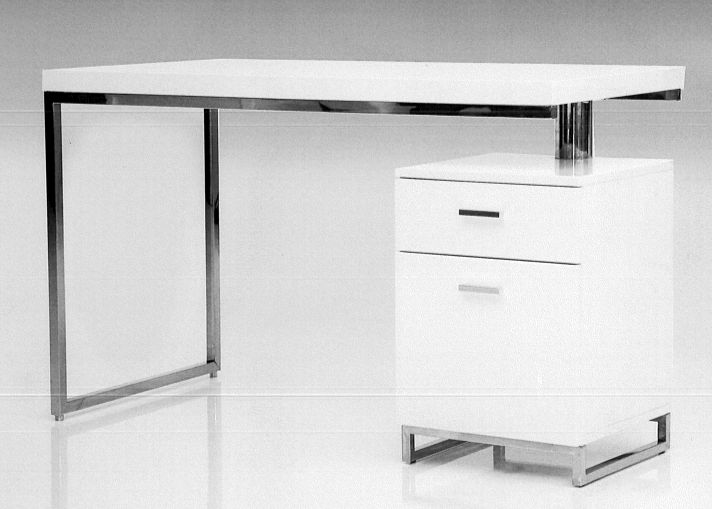 "Mobital Desk 47"" Span White w/ File Cabinet w/ polished stainless steel."