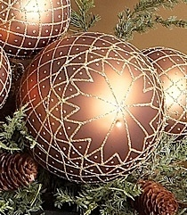 """K & K 8"""" Copper Ornament with Glitter"""