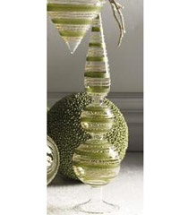 K & K 17 Inch Green Swirl Finial on Stand