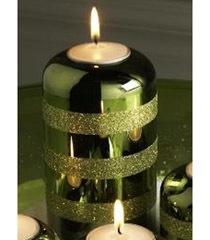 K & K 6 Inch Green Glitter Striped Candleholder