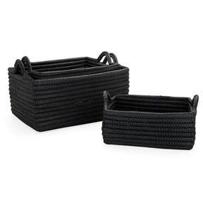 Torre & Tagus KITO WOVEN RECTANGLE BASKETS WITH HANDLES LG