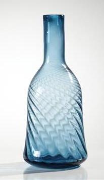 Torre & Tagus BELLBOTTOM SWIRL WIDE GLASS VASE - INK BLUE