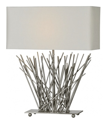 "Ren-Wil Beige rectangular hard-back cotton shade with rounded corners. Body made of satin nickel plated metal ""sticks"". The base is a flat piece of metal with 4 balls which all have a satin nickel plated finish. European style shade."