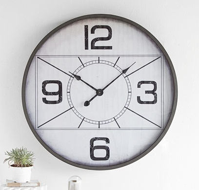 Mercana Canberla Clock - oversize with painted wooden face wrapped in grey painted metal.