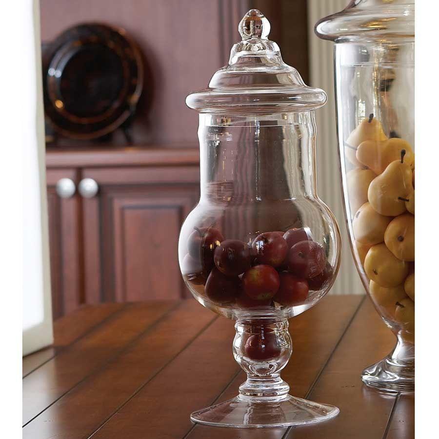 K & K Round Glass Vase with Lid