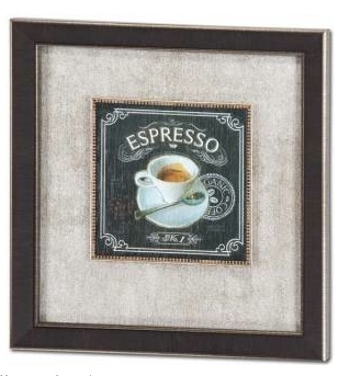 Mercana Coffee House Espresso - Framed Decograph with Silver Sand Mat
