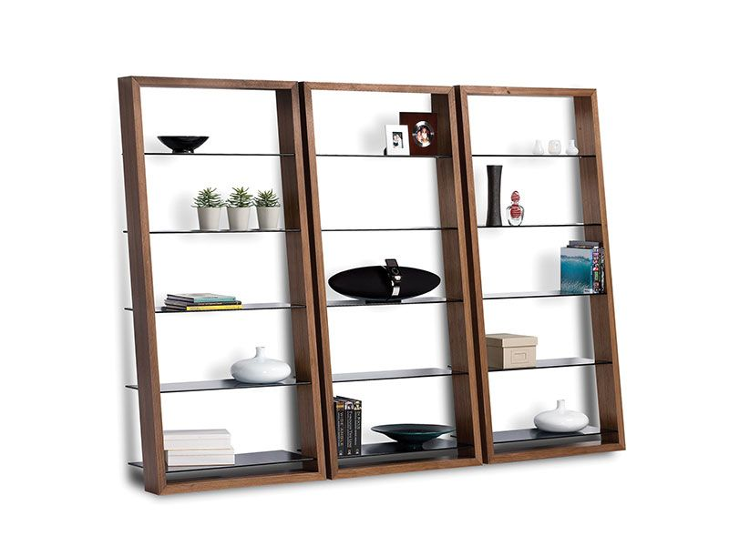 "BDI USA Leaning shelf with smoked tempered glass shelves & choc wal stain. 74"" x 34.25"" x 18.25"""