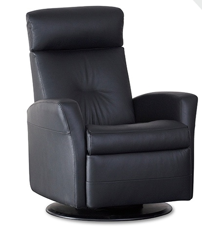 IMG Monza Glider Relaxer with Chaise.  Stocked in T417 Cinder Leather with Power & Swivel.